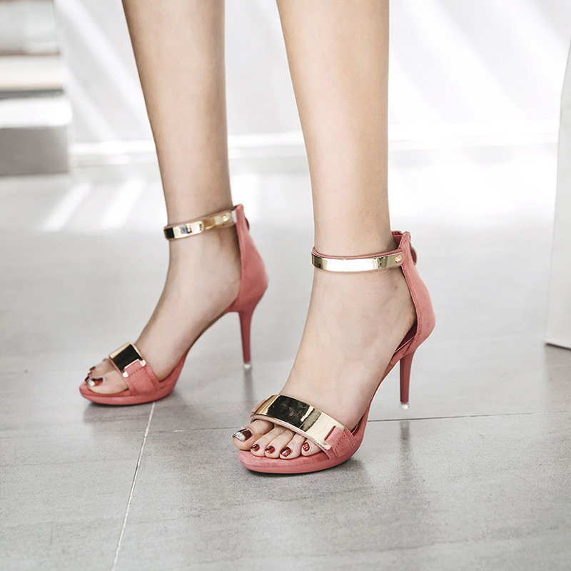 Summer new women shoes platform A word with Hollow high heels Sexy peep toe complexion sandals Suede Breathable comfort shoes