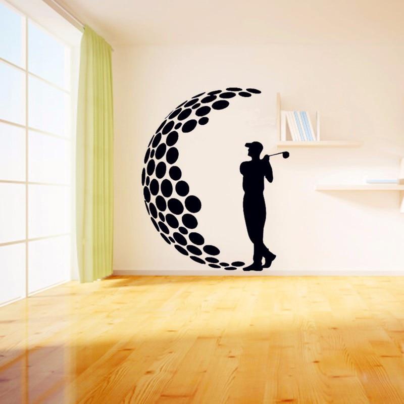 2016 play golf vinyl wall stickers 3d visual effects decals living room wall art mural modern