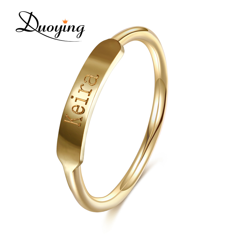 DUOYING Couples Custom Ring Name Engraved Graduation Present Gifts Styles of Simplicity Minimalist Promise Copper Ring for Etsy