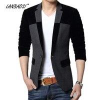 One Button Corduroy Patchwork Slim Fit Blazer For Men Casual Mens Blazer Jacket Costume Homme Blazer