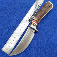 PSRK Very sharp Handmade forged Damascus Steel hunting knife fixed knife steel+ Antler with cowhide leather cover