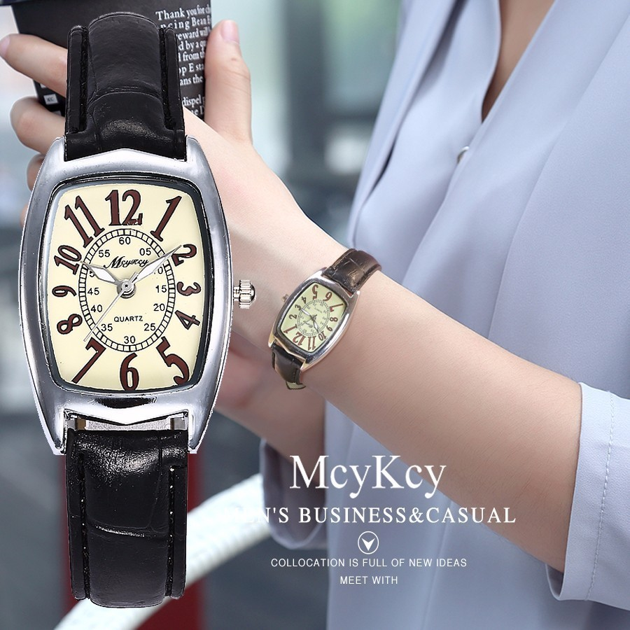 McyKcy Women Dress Watch Top Brand Luxury Fashion Casual Quartz Watch For Women's Leather Strap Wristwatches Relogio Feminino