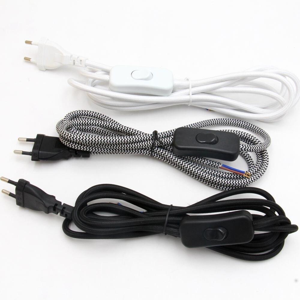 2m Europa Plug Power Kabel Mit Schalter Textil Tuch Bedeckt AC 220V EU Plug Power Draht