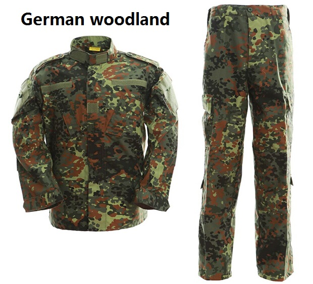 Tactical Uniform Camouflage Suit Military Combat Uniform Set Shirt + Pants German Woodland Camouflage Clothing Hunting Clothes outdoor hunting clothing camouflage mens military tactical hunting clothes for women men ghillie suit combat shirt tatico pants
