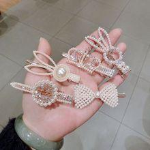 Japanese Korean Sweet Girls Glitter Rhinestone Faux Pearl Hair Clips Rabbit Bowknot Tiara Crown Duckbill Hairpins Barrettes