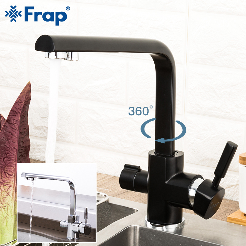 Frap Kitchen Faucets Deck Mounted Mixer Tap 360 Degree Rotation With Water Purification Mixer Tap Crane For Kitchen Y40104/-1