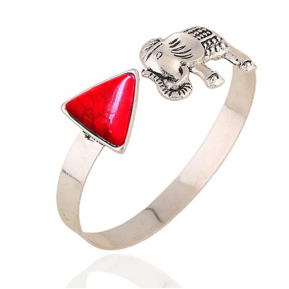 Vintage Jewelry Fashion Bracelets For Women Pendant Elephant Bangle  Bohemian For Women Silver Color