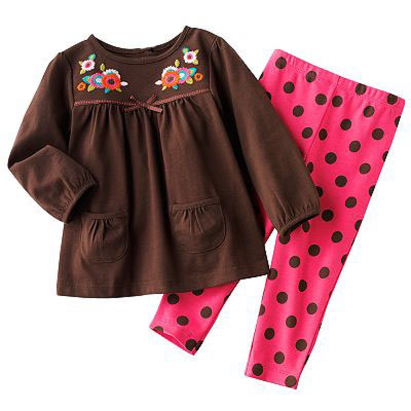 Brown Girls Clothes Sets Polka Dot Girl Leggings Jumpers Children Clothing Suit Kids Pajamas Sleepwear 100% Cotton Hot Sale