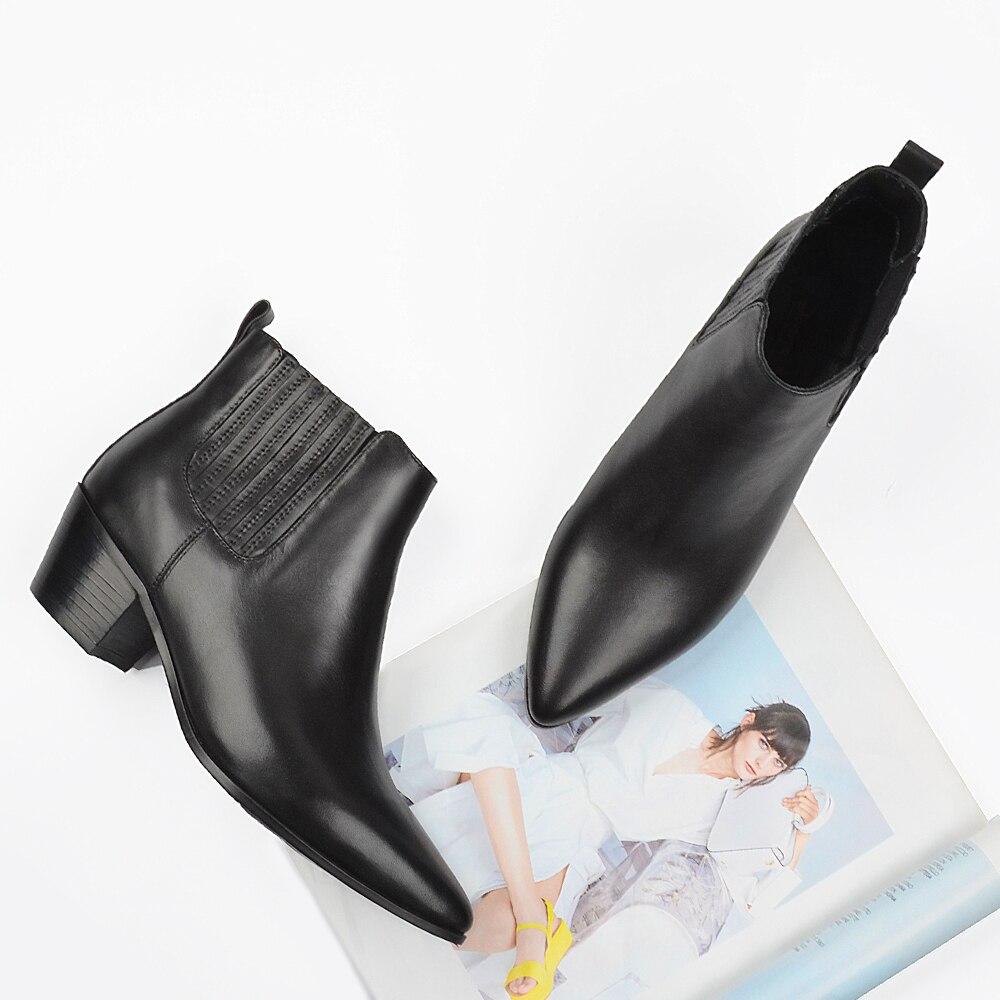 Donna in ฤดูใบไม้ร่วงข้อเท้ารองเท้าผู้หญิงหนังแท้เชลซี Booties รองเท้าผู้หญิง Pointed Toe ส้น Botas Feminina Plus ขนาด-ใน รองเท้าบูทหุ้มข้อ จาก รองเท้า บน   3