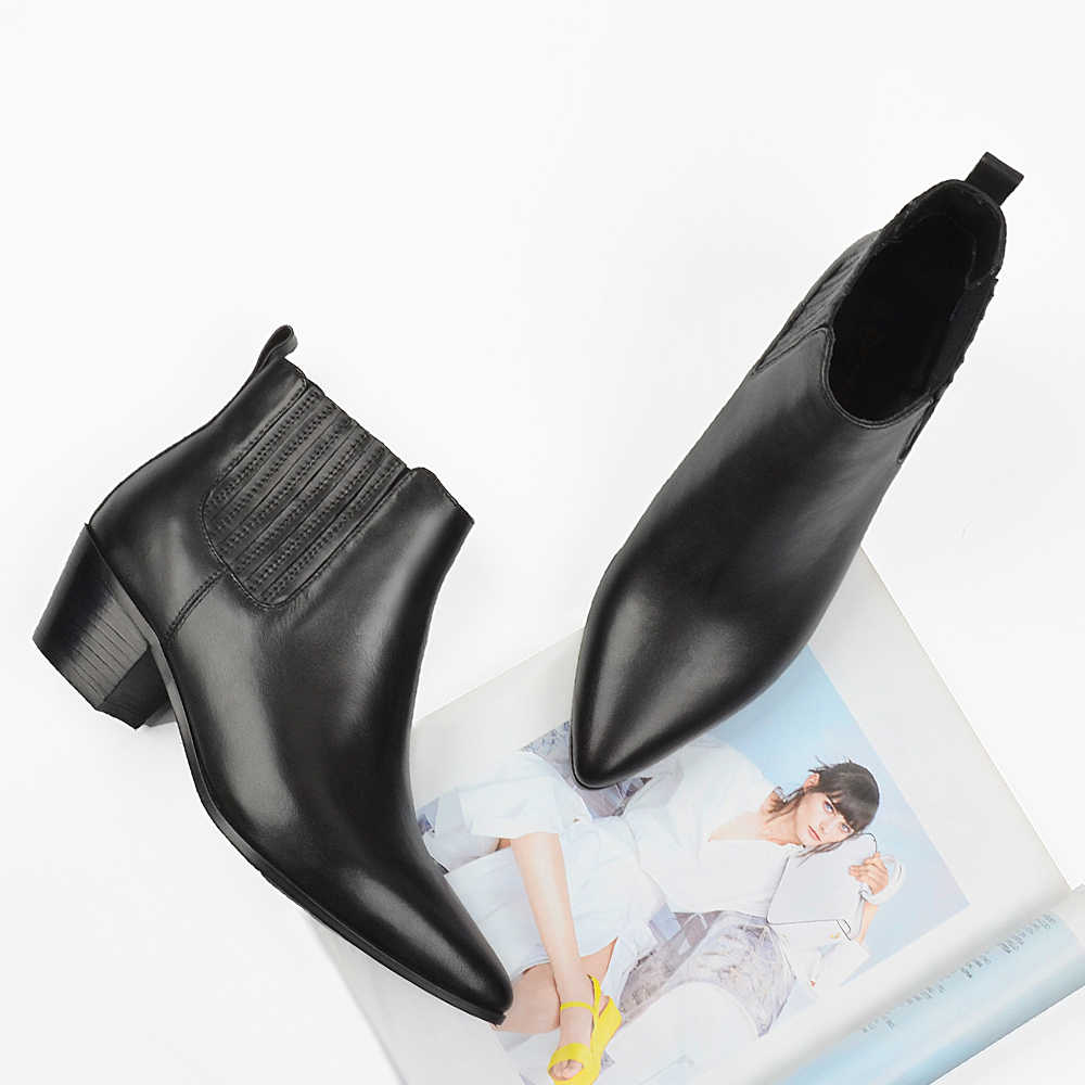 Donna-in Marka Sonbahar yarım çizmeler Kadın Hakiki Deri Chelsea Patik Bayanlar Ayakkabı Sivri Burun Topuklu Botas Feminina Artı Boyutu