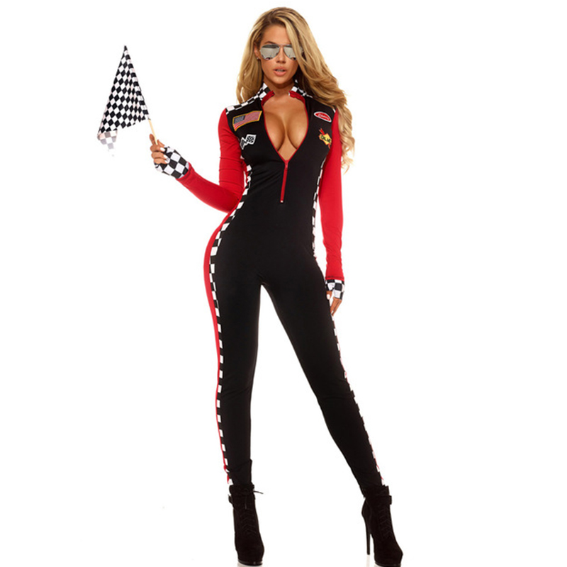 <font><b>Adult</b></font> Sports <font><b>Halloween</b></font> Costume For Women Top Speed Female Hottie Roleplay Costumes <font><b>Sexy</b></font> Long Sleeve Spandex Racing Girl Catsuit image