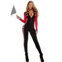 Dorosłych Halloween Costume Dla Kobiet Sportowe Top Speed Kobieta Hottie Roleplay Wyścigi Dziewczyna Catsuit Kostiumy Sexy Długim Rękawem Elastan