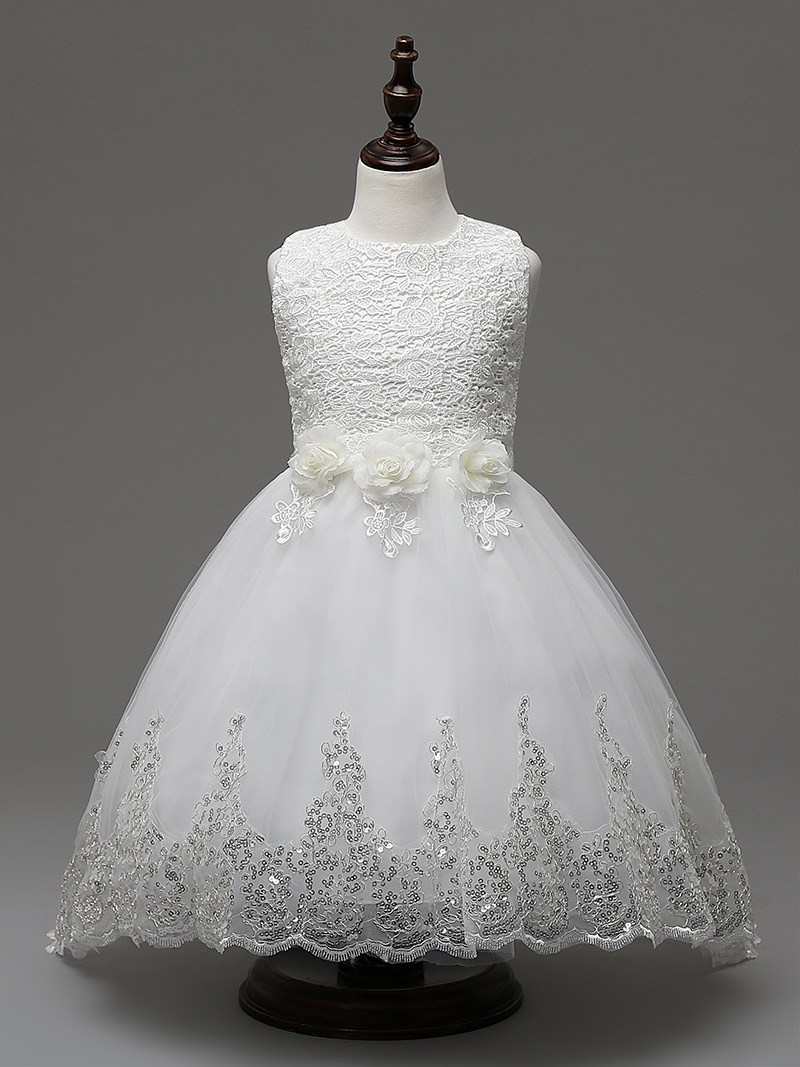 Glitz White sequined hem Princess Weddings Gowns Girls Party Pageant ...