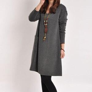 Image 4 - יולדות בגדי סתיו החורף חמוד V צוואר מוצק צבע לעבות החוצה משרד שמלת נשים בהריון הריון בגדים