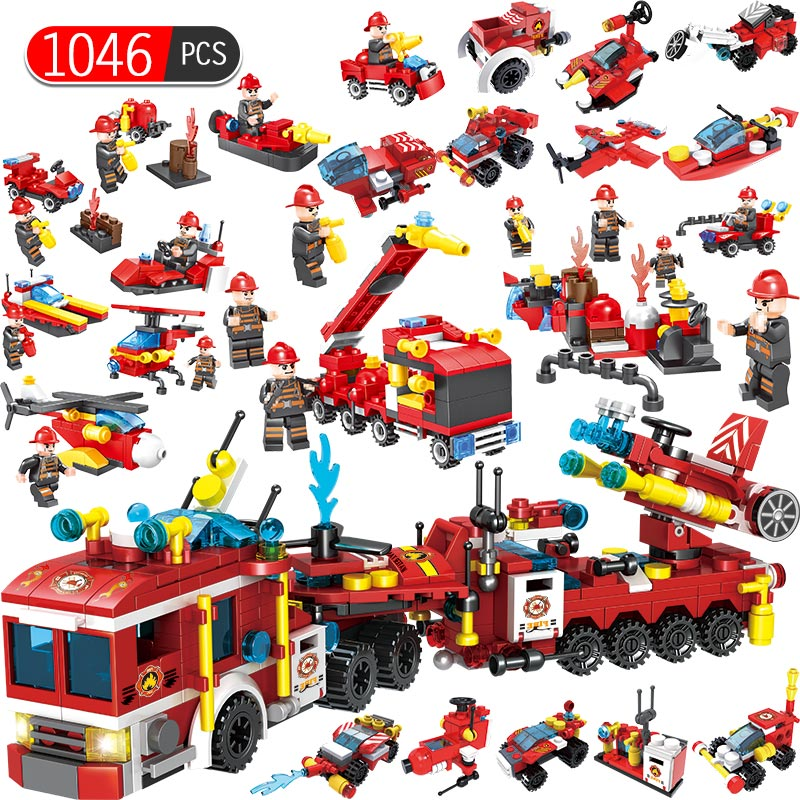 1046pcs Fire Fighting 12 in1 Trucks Car Helicopter Boat Building Blocks Compatible legoed city Firefighter figures children Toys1046pcs Fire Fighting 12 in1 Trucks Car Helicopter Boat Building Blocks Compatible legoed city Firefighter figures children Toys
