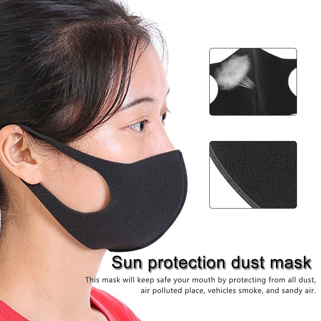 Simple Sale 1PC 3D Ice Silk Unisex Mask Summer Dust Proof Three-dimensional Washable Breathable Solid Thin Face Mask