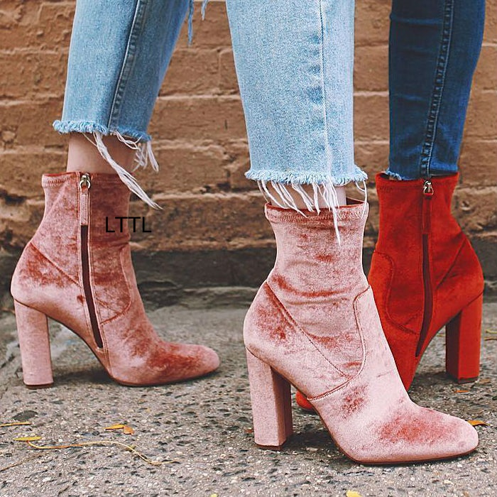 все цены на Gorgeous Red Velvet Block Heel Boots Women Slim Fit Round Toe Chunky High Heel Ankle Boots Trendy Side Zip Shoes Hot Selling