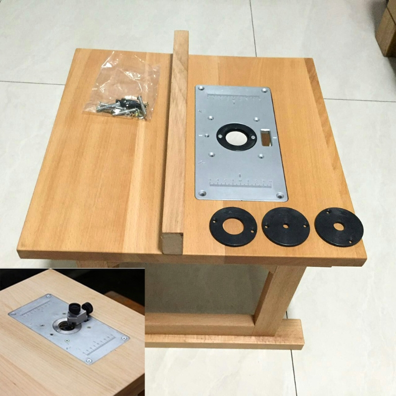 Aluminum router table insert plate w 4 rings for woodworking 1 x router table insert plate 4 x router insert rings 1 x set of fixing screws keyboard keysfo Images