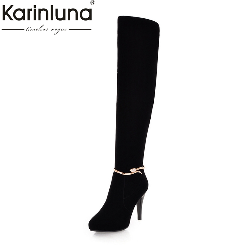 Karinluna 2018 High Quality New Arrivals Size 34-39 Winter knee-high Boots Fashion High Heels Women Shoes Woman