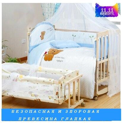 Lit bébé épaissie pare-chocs lit multifonctionnel jeu avec rouleau shaker en bois de pin lit bébé avec filets livraison gratuite