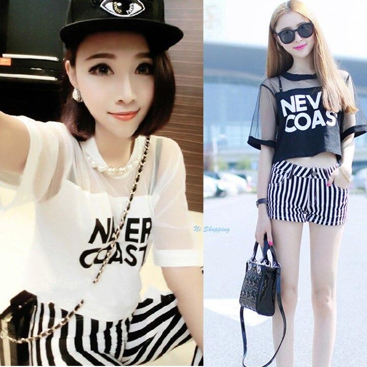 Summer Style Hot Korean Version Sexy Punk Crop Top Net -1108
