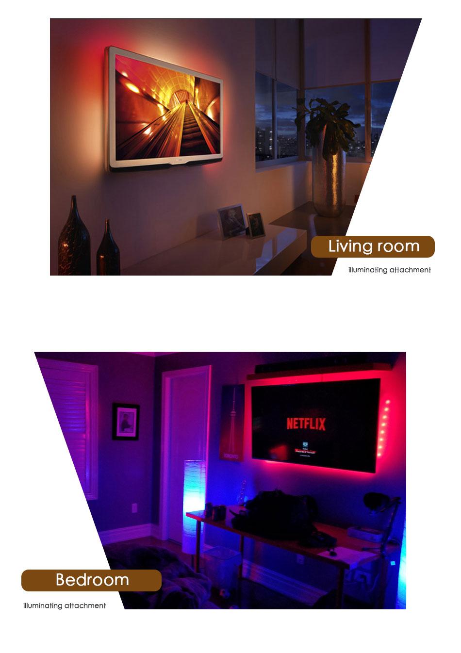 DC 5V LED Strip 3Key USB Cable Power Flexible Light Lamp 50CM 1M 2M 3M 4M 5M SMD 2835 Desk Screen Tape TV Background Lighting