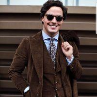 Коричневые Вельветовые мужской костюм Smart Повседневное Бизнес деловой Блейзер Tailor Made Мода стиль сафари работы уличная одежда костюмы Для м