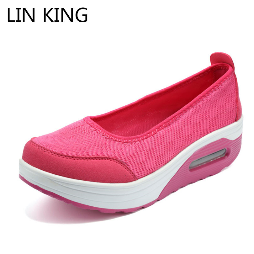 LIN KING Women Casual Swing Shoes Slip On Height Increase Lazy Loafers Woman Nurse Work Wedges Shoes Plus Size Tenis Feminino