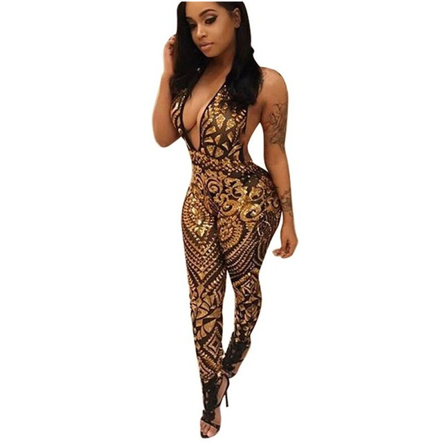 2017 New Fashion Bodycon Mesh Sequins Jumpsuit Summer Halter Backless Slim Rompers Womens Jumpsuit Sexy Club Overalls Rated 4.2