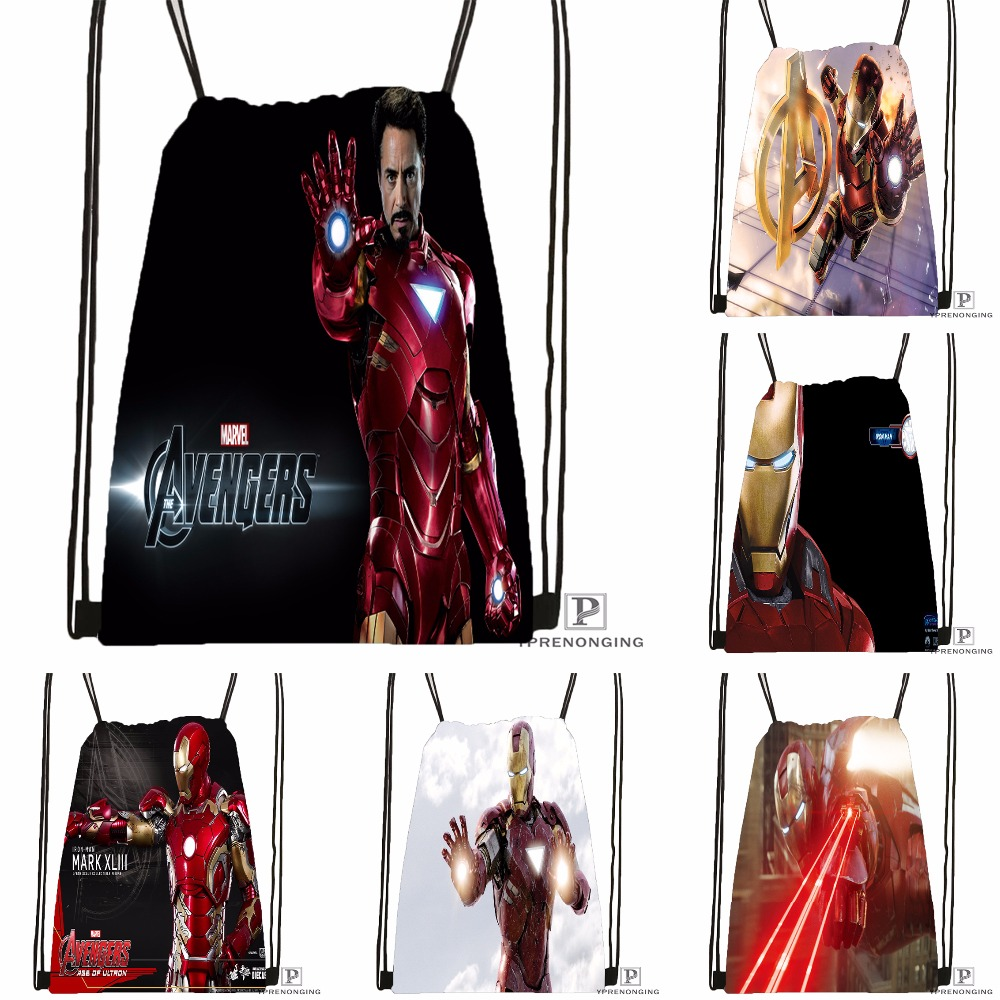 Custom Iron Man Avengers Drawstring Backpack Bag Cute Daypack Kids Satchel (Black Back) 31x40cm#180531-03-75