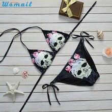 Premium WOMAIL Biniki 2019 Skull Pattern Push-up Padded Bra Backless Sexy Women's Bikinis Sets Swimwear Swimsuit Bikinis