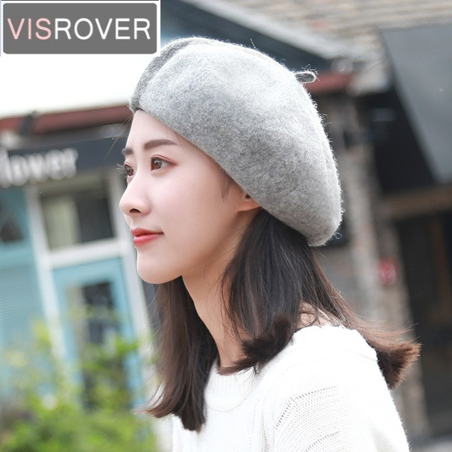 219edc8b2 US $16.86  VISROVER New Winter Patchwork Bonias Wool Beret Hats for Womens  Cashmere Girl Berets Warm Cap Casual High Quality Designer Caps-in Berets  ...