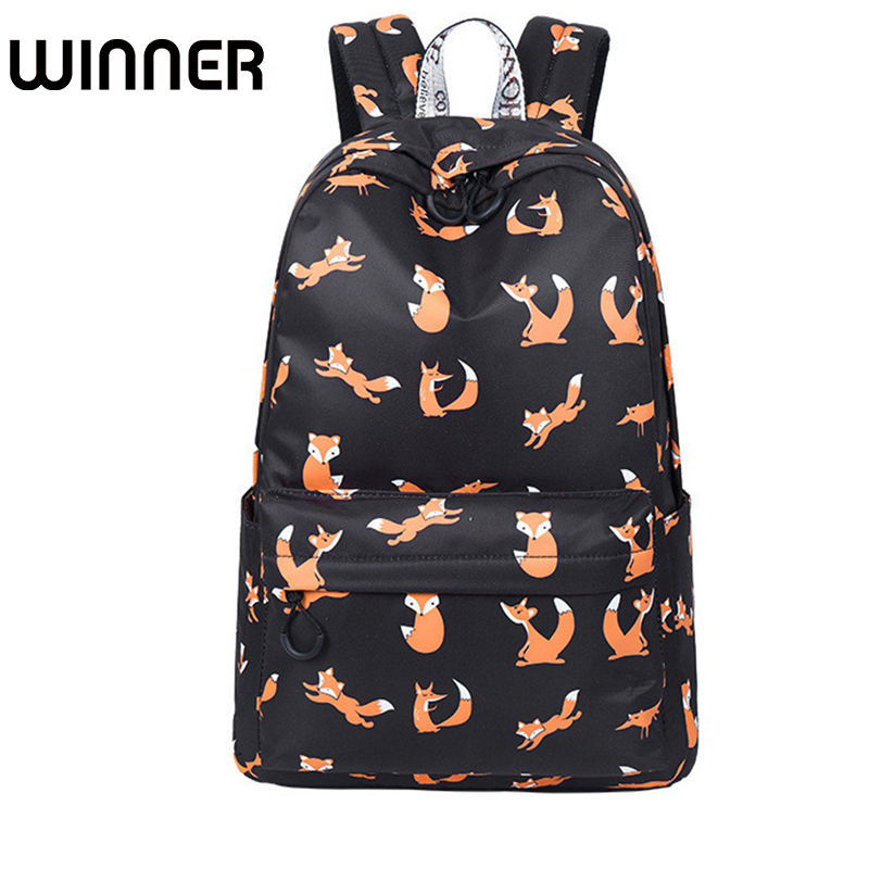 High Quality Waterproof Women Backpack School Cute Fox Pattern Printing Female Travel Daily Laptop Book Bag Knapsack In Backpacks From Luggage Bags On