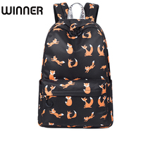 High Quality Waterproof Women Backpack School Cute Fox Pattern Printing Female Travel Daily Laptop Book Bag Knapsack