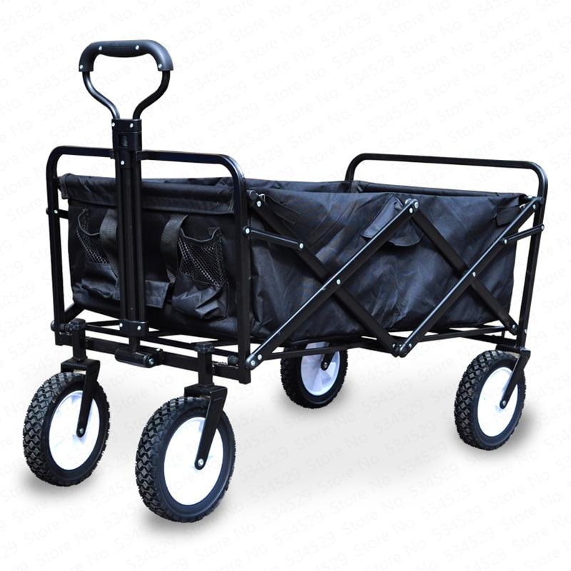 Cart-Bag Folding-Bag Hand-Pull-Wheelbarrow Wagon Garden Trolley Heavy-Duty 4-Wheel Camp