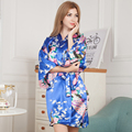 Royal Blue Printed Flower Women's Kimono Nightgown Bathrobe Wedding Bride Bridesmaid Robe Ladies' Dressing Gown One Size M02