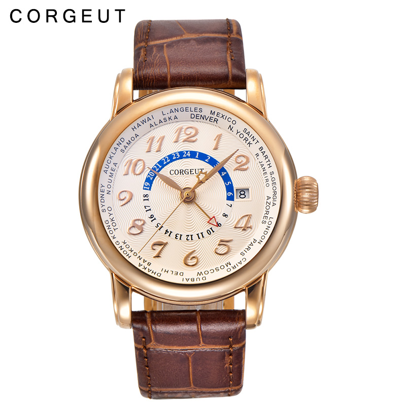 все цены на Corgeut 43mm white dial Luxury Calender Date Gold hands GMT Automatic Men's watch онлайн
