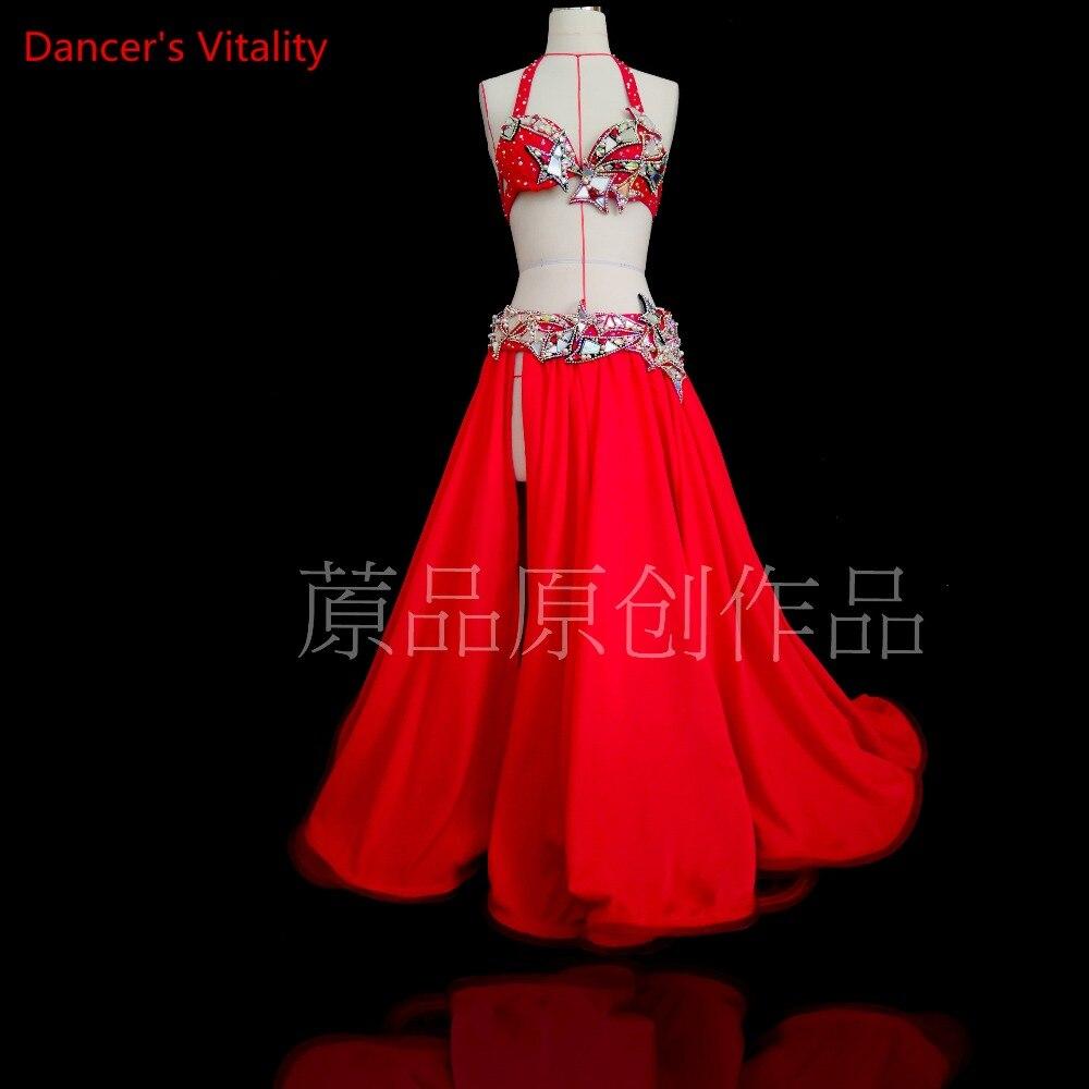 Custom Made di Lusso Del Diamante di Danza Del Ventre Reggiseno + Skirt + cintura 3 pz Pancia Professionale di Ballo di Set di Impostazioni di Costumi