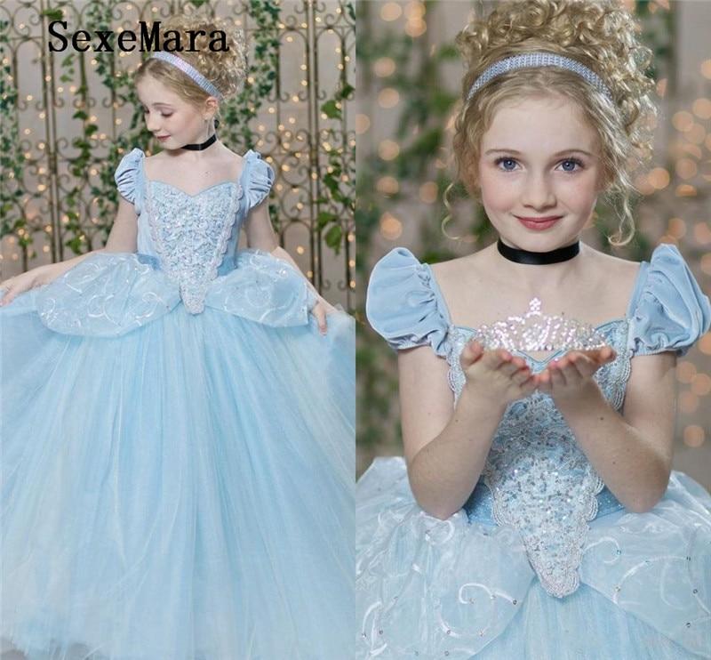 Bleu ciel robes de reconstitution historique pour les filles avec Cap manches plis paillettes dentelle robe de bal fleur fille robe Tulle fille robe d'anniversaire