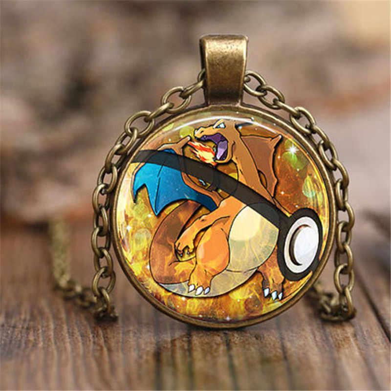2019 Mới Thời Trang Phim Hoạt Hình Đồ Trang Sức Charizard Pokeball Pokemon Vòng Cổ 27 MM Vòng Glass Dome bijoux femme