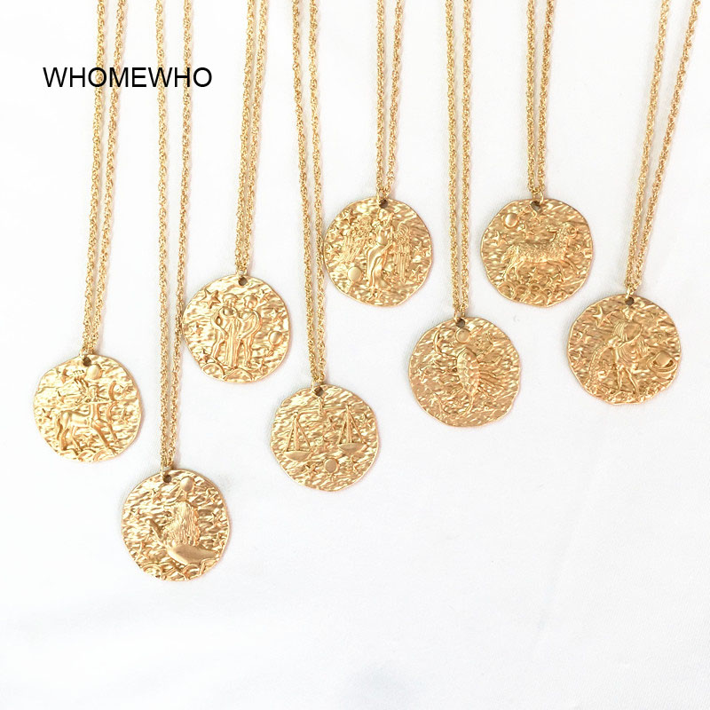 Gold Chain Hammered Metal Embossment 12 Zodiac Signs Pendant Choker Necklace Korean Fashion Neck Jewelry Minimalist Accessories