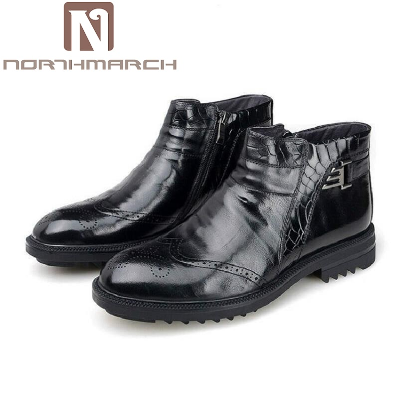 NORTHMARCH Men British Style High Top Brand Men Boots Brown Leather zipper Mens Shoes Anfibi Militari Uomo Chelsea Boots fall trendboots in europe and america heavy bottomed martin boots british style high top shoes shoes boots sneakers