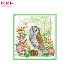NKF New arrival Owl 7 Needlework DMC DIY Handmade 11CT 14CT Cross Stitch Sets For Embroidery kits Gift room decor