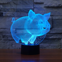 3D Pig Model Table Lamp USB Sensor Night Lights LED Sculpture Fashion Decorations Lamp As