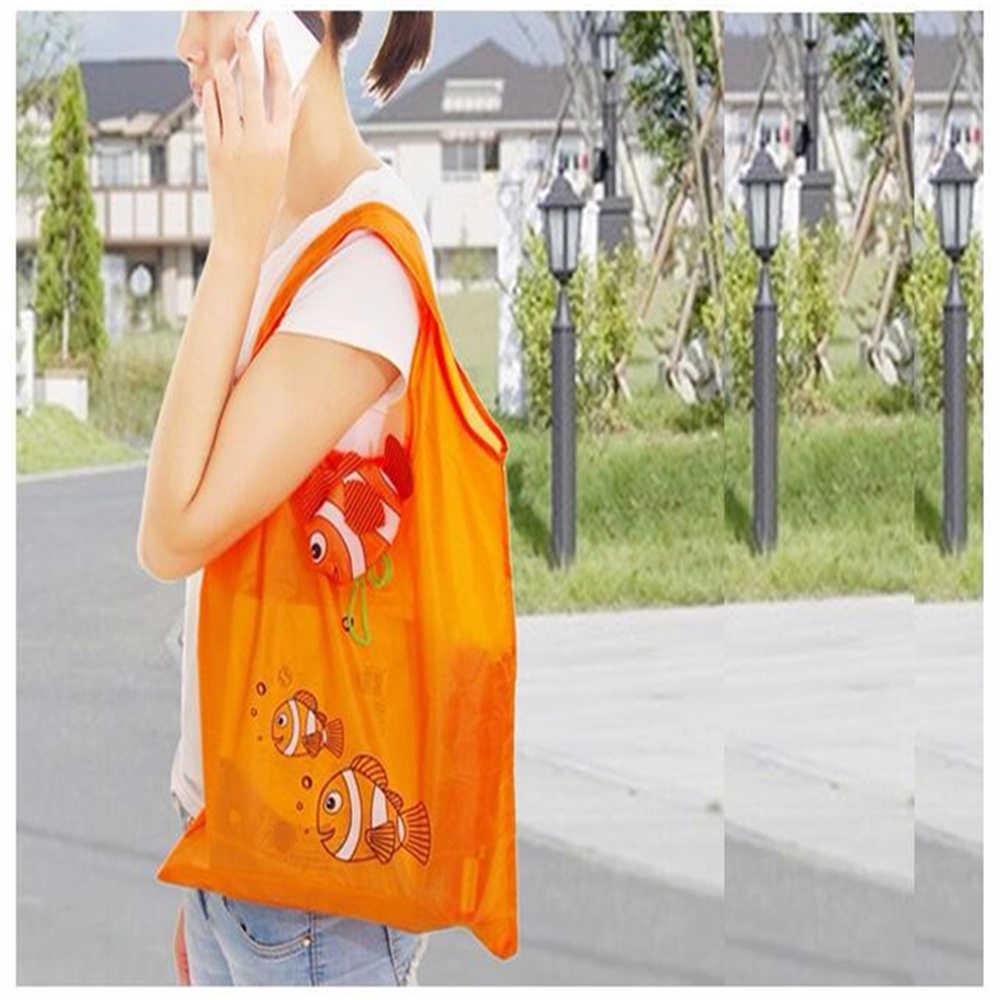7 Cores Peixes Tropicais Reutilizável Dobrável Eco reutilizáveis Sacos de Compras Reutilizáveis Tote Bolsa De Armazenamento Reciclar Bolsas 38 cm x 58 cm