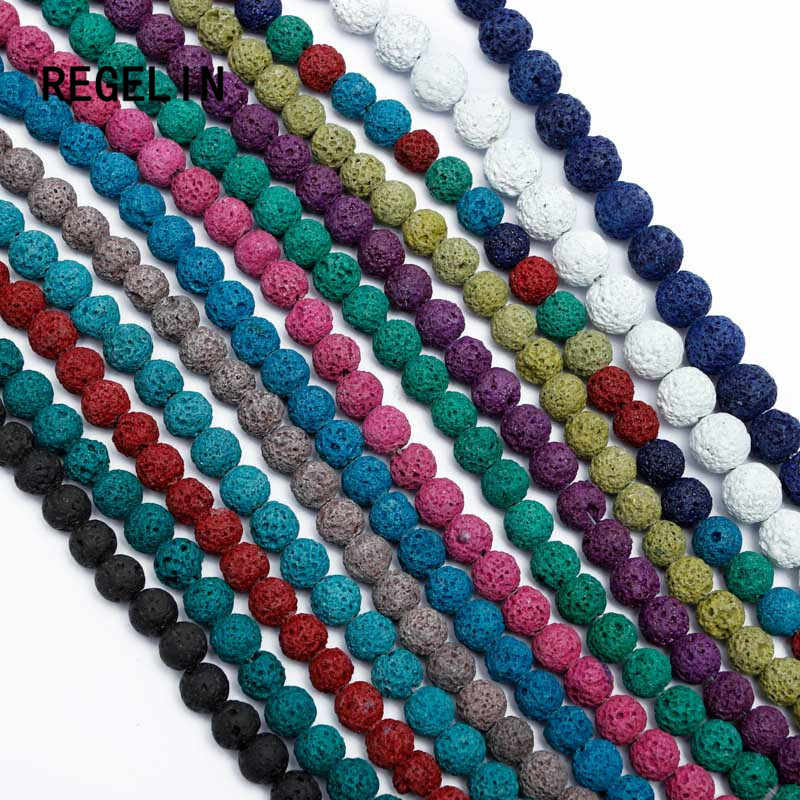 REGELIN Fashion Colorful Volcanic Lava Stone Round Loose beads Natural Stone Rock Ball  DIY For Jewelry Bracelet Making Gift