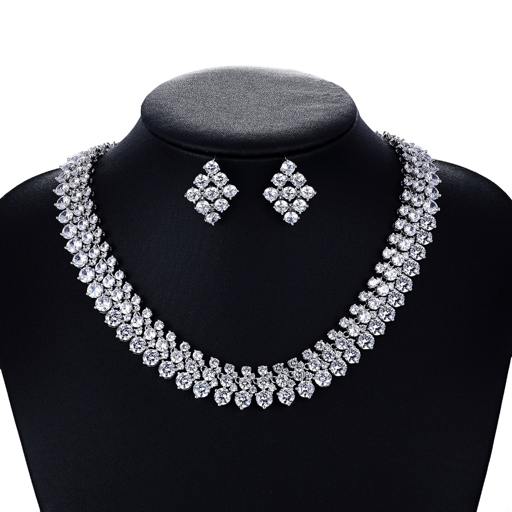 Crystal CZ Cubic Zirconia Bridal Wedding Round Necklace Earring Set Jewelry Sets for Women Accessories CN10007