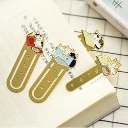 Gato bonito família metal bookmark planejador material clipe de papel escolar marcadores para artigos de papelaria livro material escolar papelaria