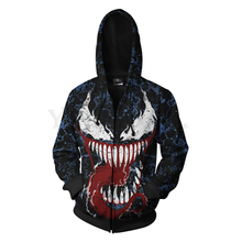 Men and Women Zip Up Hoodies Venom Spiderman 3d Print Hooded Jacket Mravel 4 Movie Anti-hero Sweatshirt  Streetwear Costume