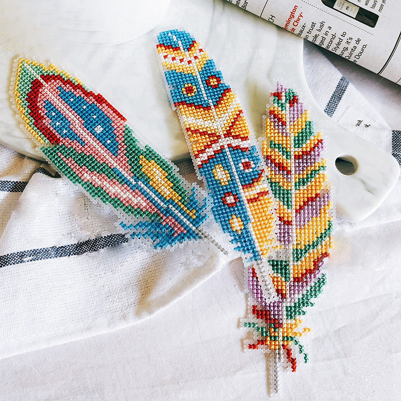 903 Bookmark Feather DIY Craft Stich Cross Stitch Needlework Embroidery Crafts Counted Cross-Stitching Kit NOT PRINTED